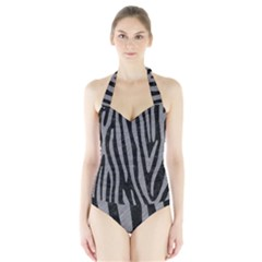 Skin4 Black Marble & Gray Colored Pencil (r) Halter Swimsuit