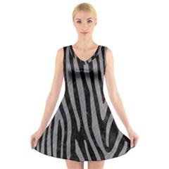 Skin4 Black Marble & Gray Colored Pencil (r) V Neck Sleeveless Skater Dress