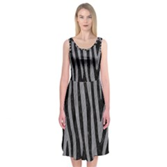 Skin4 Black Marble & Gray Colored Pencil (r) Midi Sleeveless Dress