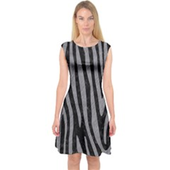 Skin4 Black Marble & Gray Colored Pencil (r) Capsleeve Midi Dress