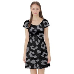 Skin5 Black Marble & Gray Colored Pencil (r) Short Sleeve Skater Dress