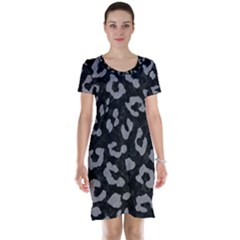 Skin5 Black Marble & Gray Colored Pencil (r) Short Sleeve Nightdress