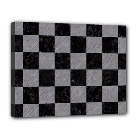 Square1 Black Marble & Gray Colored Pencil Canvas 14  X 11