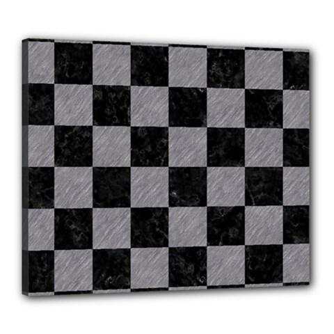 Square1 Black Marble & Gray Colored Pencil Canvas 24  X 20