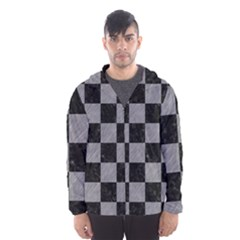 Square1 Black Marble & Gray Colored Pencil Hooded Wind Breaker (men)