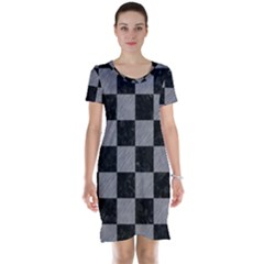 Square1 Black Marble & Gray Colored Pencil Short Sleeve Nightdress