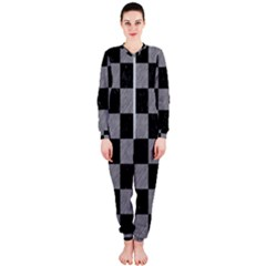 Square1 Black Marble & Gray Colored Pencil Onepiece Jumpsuit (ladies)