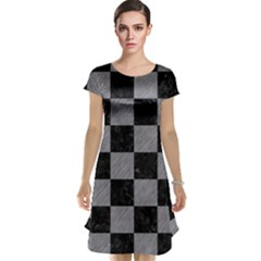 Square1 Black Marble & Gray Colored Pencil Cap Sleeve Nightdress