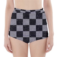 Square1 Black Marble & Gray Colored Pencil High Waisted Bikini Bottoms