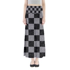 Square1 Black Marble & Gray Colored Pencil Full Length Maxi Skirt