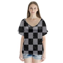Square1 Black Marble & Gray Colored Pencil V Neck Flutter Sleeve Top