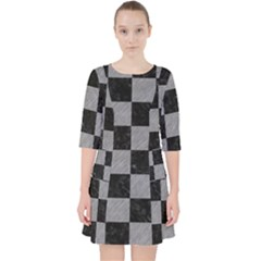 Square1 Black Marble & Gray Colored Pencil Pocket Dress