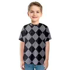 Square2 Black Marble & Gray Colored Pencil Kids  Sport Mesh Tee
