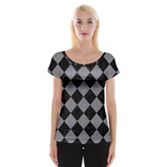 Square2 Black Marble & Gray Colored Pencil Cap Sleeve Tops