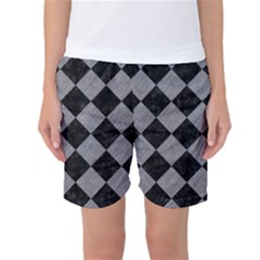 Square2 Black Marble & Gray Colored Pencil Women s Basketball Shorts