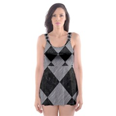 Square2 Black Marble & Gray Colored Pencil Skater Dress Swimsuit