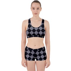 Square2 Black Marble & Gray Colored Pencil Work It Out Sports Bra Set
