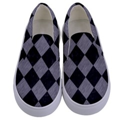 Square2 Black Marble & Gray Colored Pencil Kids  Canvas Slip Ons