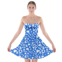 Xmas Pattern Strapless Bra Top Dress