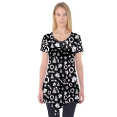 Xmas Pattern Short Sleeve Tunic