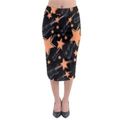 Guitar Star Rain Midi Pencil Skirt