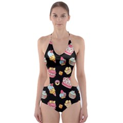 Sweet Pattern Cut Out One Piece Swimsuit