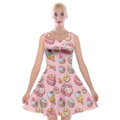 Sweet Pattern Velvet Skater Dress