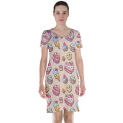 Sweet Pattern Short Sleeve Nightdress