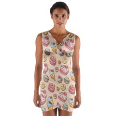 Sweet Pattern Wrap Front Bodycon Dress
