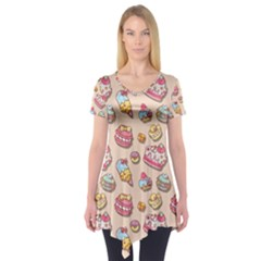 Sweet Pattern Short Sleeve Tunic