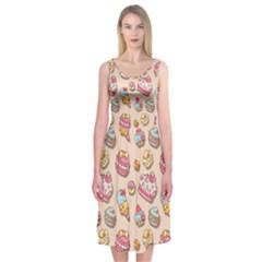 Sweet Pattern Midi Sleeveless Dress