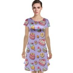 Sweet Pattern Cap Sleeve Nightdress