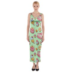 Sweet Pattern Fitted Maxi Dress
