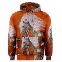 Steampunk, Wonderful Wild Steampunk Horse Men s Pullover Hoodie