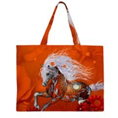 Steampunk, Wonderful Wild Steampunk Horse Zipper Large Tote Bag