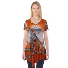 Steampunk, Wonderful Wild Steampunk Horse Short Sleeve Tunic
