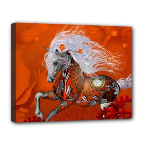 Steampunk, Wonderful Wild Steampunk Horse Canvas 14  X 11