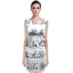 Alphabet Embassy Font Sleeveless Velvet Midi Dress