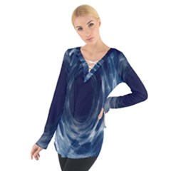 Worm Hole Line Space Blue Tie Up Tee