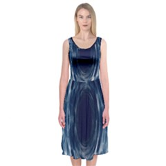 Worm Hole Line Space Blue Midi Sleeveless Dress