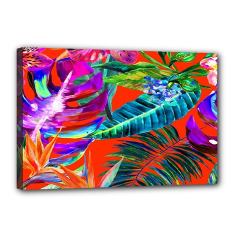 Aloha Hawaiian Flower Floral Sexy Summer Orange Canvas 18  X 12