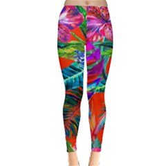Aloha Hawaiian Flower Floral Sexy Summer Orange Classic Winter Leggings