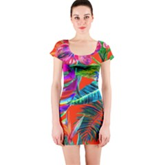 Aloha Hawaiian Flower Floral Sexy Summer Orange Short Sleeve Bodycon Dress