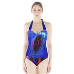 Black Hole Blue Space Galaxy Halter Swimsuit