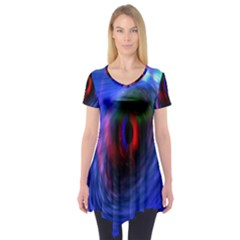 Black Hole Blue Space Galaxy Short Sleeve Tunic