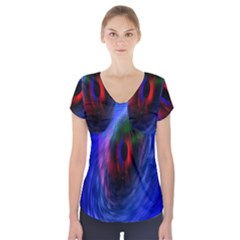 Black Hole Blue Space Galaxy Short Sleeve Front Detail Top
