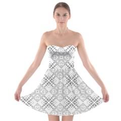 Background Pattern Diagonal Plaid Black Line Strapless Bra Top Dress