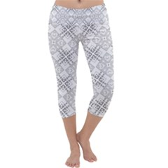 Background Pattern Diagonal Plaid Black Line Capri Yoga Leggings
