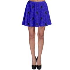Unicorn Pattern Blue Skater Skirt
