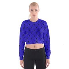 Unicorn Pattern Blue Cropped Sweatshirt